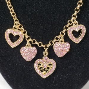 1928 Pink Hearts & Gold Sparkle necklace